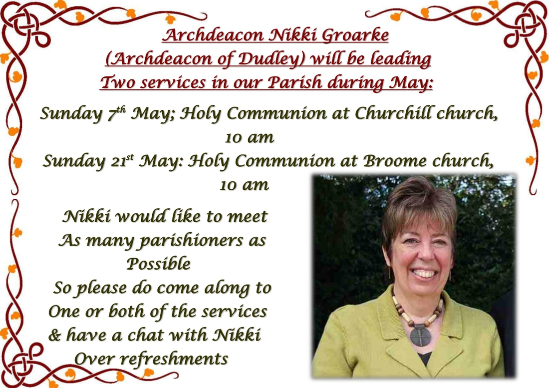 Archdeacon Nikki Groarke's visit to churchill & Broome churches during May 2017 advert