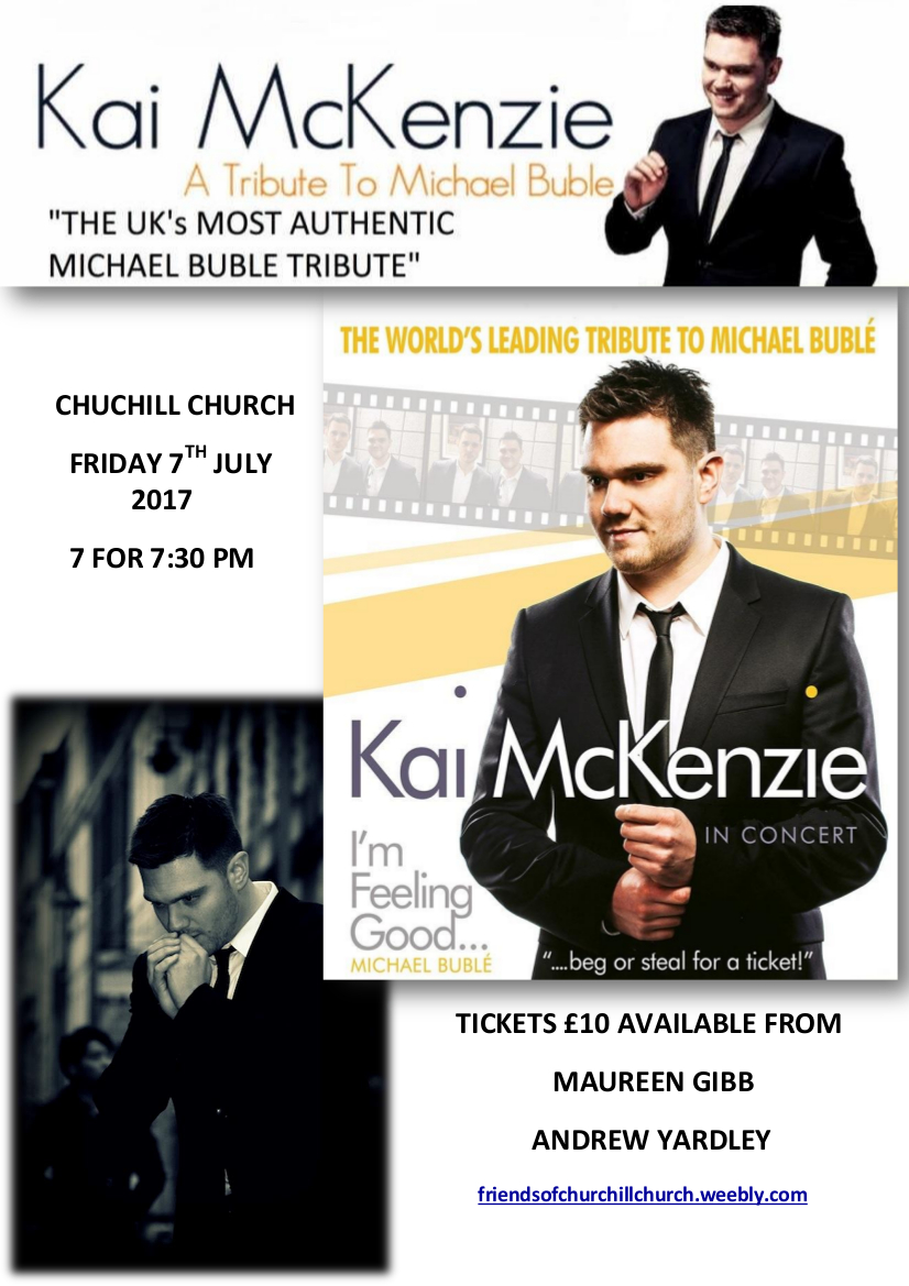 Kai McKenzie concert at Churchill church, 7th July 2017 poster
